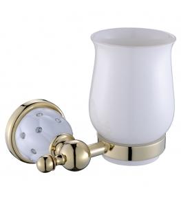 כוס מברשת לשיניים זהב לבן