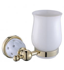 כוס מברשת שיניים זהב לבן DIAMOND