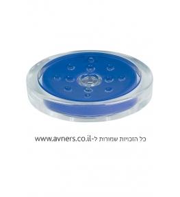 סבונייה מונחת לחדר אמבטייה כחול